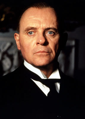 Anthony Hopkins as Mr Stevens in the movie adaptation of the Remains of the Day 1993