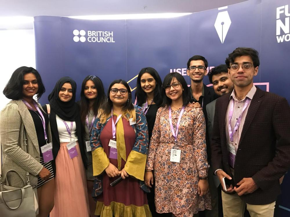 Delegates from India, Pakistan and Bangladesh on the opening night of Future News Worldwide 2019.